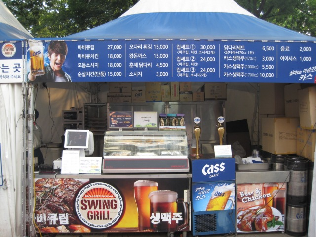 Prices range from 3000W - 30000W. They serve sausage, pork and chicken and of course cheap beer! Ahhsssa!!