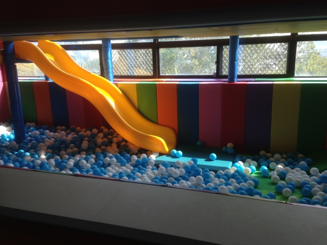 Ball pit - the slide is a fast one.